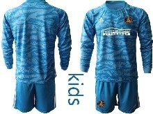 Youth 20-21 Soccer Atlanta United Club ( Custom Made ) Blue Goalkeeper Long Sleeve Suit Jersey