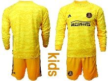 Youth 20-21 Soccer Atlanta United Club ( Custom Made ) Yellow Goalkeeper Long Sleeve Suit Jersey