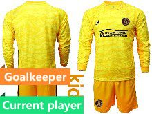 Youth 20-21 Soccer Atlanta United Club Current Player Yellow Goalkeeper Long Sleeve Suit Jersey