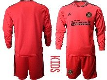Youth 20-21 Soccer Atlanta United Club ( Custom Made ) Red Goalkeeper Long Sleeve Suit Jersey