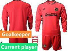 Youth 20-21 Soccer Atlanta United Club Current Player Red Goalkeeper Long Sleeve Suit Jersey