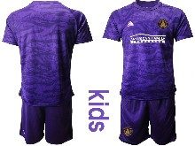 Kids 20-21 Soccer Atlanta United Club ( Custom Made ) Purple Goalkeeper Short Sleeve Suit Jersey