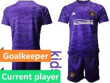 Kids 20-21 Soccer Atlanta United Club Current Player Purple Goalkeeper Short Sleeve Suit Jersey
