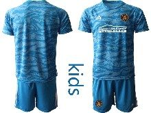 Youth 20-21 Soccer Atlanta United Club ( Custom Made ) Blue Goalkeeper Short Sleeve Suit Jersey