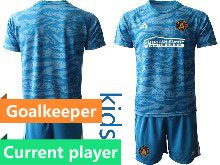 Kids 20-21 Soccer Atlanta United Club Current Player Blue Goalkeeper Short Sleeve Suit Jersey