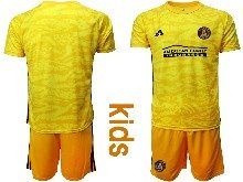 Kids 20-21 Soccer Atlanta United Club ( Custom Made ) Yellow Goalkeeper Short Sleeve Suit Jersey