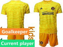 Kids 20-21 Soccer Atlanta United Club Current Player Yellow Goalkeeper Short Sleeve Suit Jersey