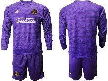 Mens 20-21 Soccer Atlanta United Club ( Custom Made ) Purple Goalkeeper Long Sleeve Suit Jersey