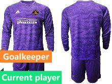 Mens 20-21 Soccer Atlanta United Club Current Player Purple Goalkeeper Long Sleeve Suit Jersey