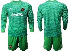 Mens 20-21 Soccer Atlanta United Club ( Custom Made ) Green Goalkeeper Long Sleeve Suit Jersey