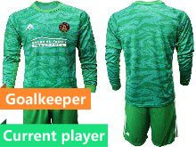 Mens 20-21 Soccer Atlanta United Club Current Player Green Goalkeeper Long Sleeve Suit Jersey