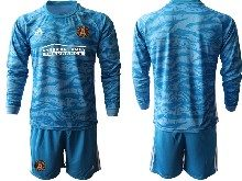 Mens 20-21 Soccer Atlanta United Club ( Custom Made ) Blue Goalkeeper Long Sleeve Suit Jersey
