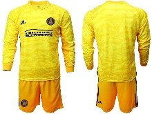 Mens 20-21 Soccer Atlanta United Club ( Custom Made ) Yellow Goalkeeper Long Sleeve Suit Jersey