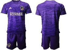 Mens 20-21 Soccer Los Angeles Galaxy Club ( Custom Made ) Purple Goalkeeper Short Sleeve Suit Jersey