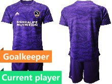Mens 20-21 Soccer Los Angeles Galaxy Club Current Player Purple Goalkeeper Short Sleeve Suit Jersey