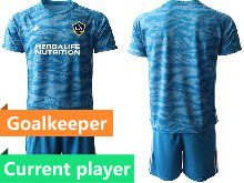 Mens 20-21 Soccer Los Angeles Galaxy Club Current Player Blue Goalkeeper Short Sleeve Suit Jersey