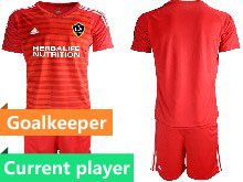 Mens 20-21 Soccer Los Angeles Galaxy Club Current Player Red Goalkeeper Short Sleeve Suit Jersey