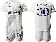 Mens 20-21 Soccer Los Angeles Galaxy Club ( Custom Made ) White Home Short Sleeve Suit Jersey