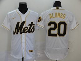 Mens Mlb New York Mets #20 Pete Alonso White Throwbacks Golden Flex Base Nike Jersey