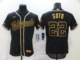 Mens Mlb Washington Nationals #22 Juan Soto Black Throwbacks Golden Flex Base Nike Jersey