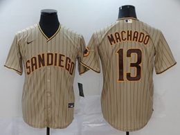 Mens Mlb San Diego Padres #13 Manny Machado Cream Stripe Cool Base Nike Jersey