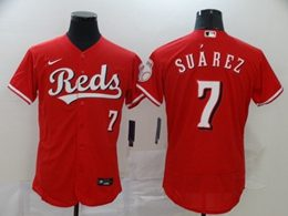 Mens Mlb Cincinnati Reds #7 Eugenio Suarez Red Flex Base Nike Jersey