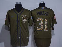 Mens Majestic New York Mets #31 Mike Piazza Army Green Cool Base Nike Jersey