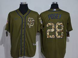 Mens Women San Francisco Giants #28 Buster Posey Army Green Cool Base Nike Jersey