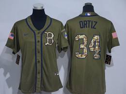 Mens Women Mlb Boston Red Sox #34 David Ortiz Army Green Cool Base Nike Jersey
