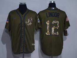 Mens Mlb Cleveland Indians #12 Francisco Lindor Army Green Cool Base Nike Jersey