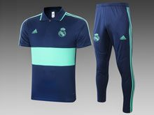 Mens 20-21 Soccer Real Madrid Club Blue Polo Shirt And Blue Sweat Pants Training Suit