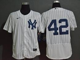 Mens Mlb New York Yankees #42 Mariano Rivera White Flex Base Nike Jersey No Name