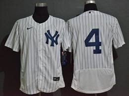 Mens Mlb New York Yankees #4 Lou Gehrig White Flex Base Nike Jersey No Name