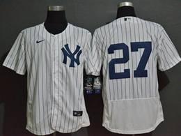 Mens Mlb New York Yankees #27 Giancarlo Stanton White Flex Base Nike Jersey No Name