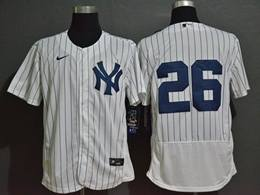 Mens Mlb New York Yankees #26 Dj Lemahieu White Flex Base Nike Jersey No Name