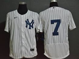 Mens Mlb New York Yankees #7 Mickey Mantle White Flex Base Nike Jersey No Name