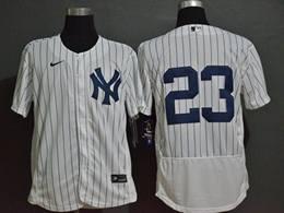 Mens Mlb New York Yankees #23 Don Mattingly White Flex Base Nike Jersey No Name