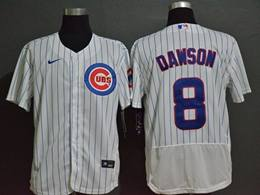 Mens Majestic Mlb Chicago Cubs #8 Andre Dawson White Blue Stripe Flex Base Nike Jersey