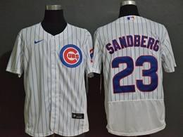Mens Majestic Mlb Chicago Cubs #23 Ryne Sandberg White Blue Stripe Flex Base Nike Jersey