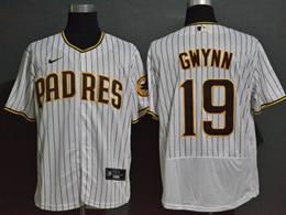 Mens Mlb San Diego Padres #19 Tony Gwynn White Brown Stripe Flex Base Nike Jersey