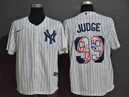 Mens New York Yankees #99 Aaron Judge White Stripe Cool Base Preschool Player Cap Logo Name & Number Nike Jersey