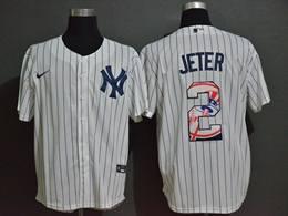 Mens New York Yankees #2 Derek Jeter White Stripe Cool Base Preschool Player Cap Logo Name & Number Nike Jersey
