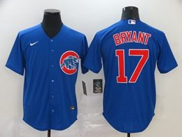 Mens Mlb Chicago Cubs #17 Kris Bryant Blue Cool Base Nike Jersey