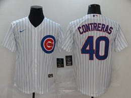 Mens Mlb Chicago Cubs #40 Willson Contreras White Stripe Cool Base Nike Jersey