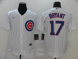Mens Mlb Chicago Cubs #17 Kris Bryant White Stripe Cool Base Nike Jersey