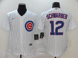 Mens Mlb Chicago Cubs #12 Kyle Schwarber White Stripe Cool Base Nike Jersey