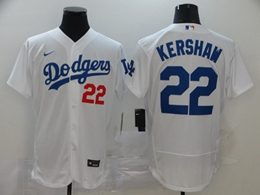 Mens Mlb Los Angeles Dodgers #22 Clayton Kershaw White Flex Base Nike Jersey