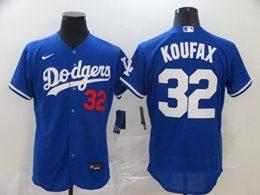 Mens Mlb Los Angeles Dodgers #32 Sandy Koufax Blue Flex Base Nike Jersey