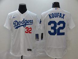 Mens Mlb Los Angeles Dodgers #32 Sandy Koufax White Flex Base Nike Jersey