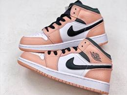 Women Air Jordan 1 Mid Pink Basketball Shoes One Color